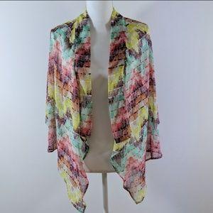 American Rag Tops - American Rag Sheer Printed Hi Low Kimono